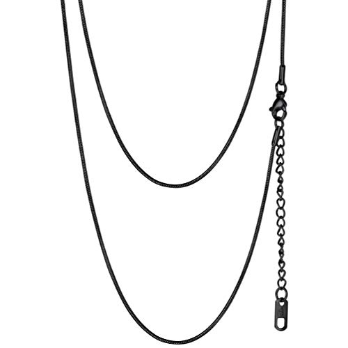 (PROSTEEL Black Snake Chain Thin Slim DIY Charms Pendant Chain Personalized Gift Trendy Men Women Long Long Chains Necklace)