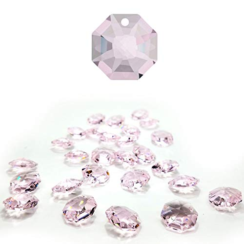 (CrystalPlace 12 Pcs Swarovski Crystal, 14mm Rosaline Crystal, One Hole Strass Octagon Lily, Ideal for Jewelry Making, Chandelier Parts, Arts Crafts)