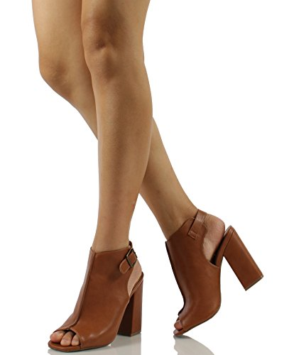 Wild Diva Womens Darlyn 01 Peep Toe Faux Leather Slingback Chunky Block Heel Ankle Boot Shoes