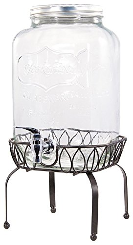 Circleware Yorkshire Mason Jar Beverage Drink Dispenser with Metal Stand, 2 gallon, Clear (2 Gallon Beverage Dispenser Stand)