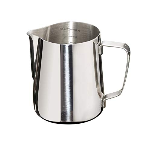 Joytata Milk Frothing Pitcher 32oz Stainless Steel Cup with Double Measurement Scales Perfect for Latte Art,Espresso Maker,Cappuccino Maker-18/8 Stainless Steel Milk Frother Pitcher Steaming Pitcher