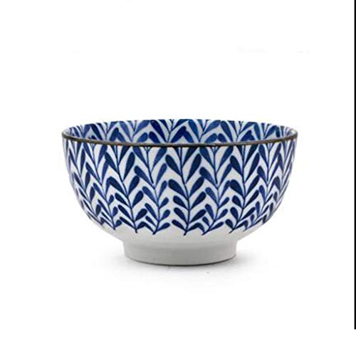 Microwave oven ceramic bowl blue and white ceramic noodle bowl beef noodle bowl soup bowl (Color : D)