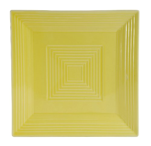 CAC China TG-SQ16SFL Tango Sunflower Porcelain Square Plate, 10-Inch, Box of 12