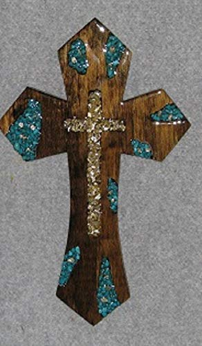 decorative wall cross, handmade, wooden, lg. turq/mirror cross - Cross Turq