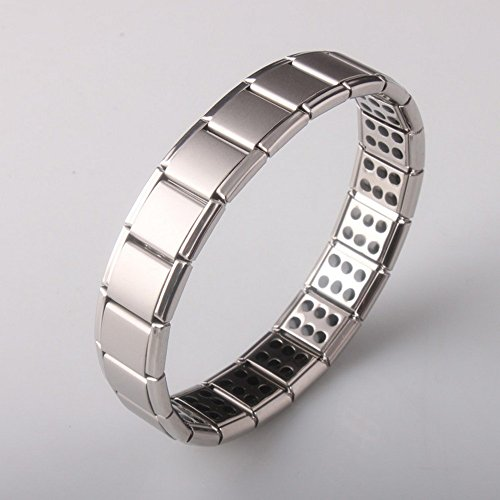 Men Titanium 120 Power Germanium Stones Magnetic Therapy Link Bracelet (Elastic Power Bracelet)