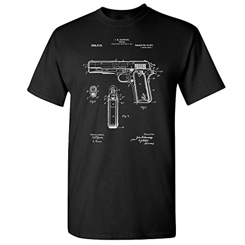 Colt 1911 Pistol Patent T-Shirt, Colt 45, WW2 Sidearm, Law Enforcement Black (Large)