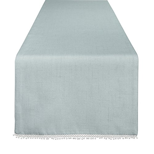 "Lenox French Perle Solid 90"" Runner, Ice Blue"