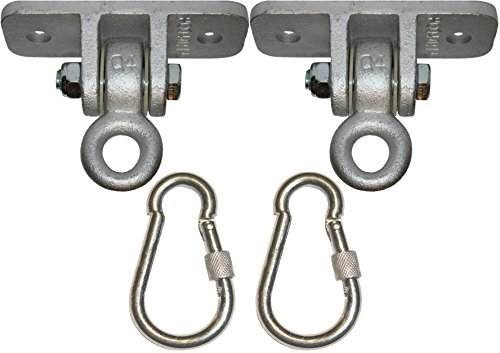Price comparison product image Jungle Gym Kingdom 2 Heavy Duty Swing Hangers for Wooden Sets Playground Porch Indoor Outdoor Seat Trapeze Yoga & Hanging Steel Locking Snap Hooks / 1260 lb Capacity / Ebook Install Guide