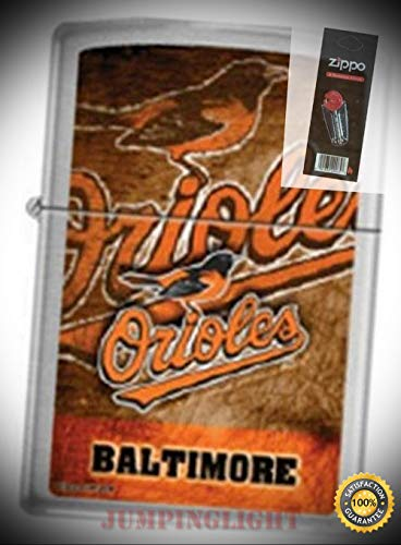 (200 Baltimore Orioles MLB Baseball Lighter with Flint Pack - Premium Lighter Fluid (Comes Unfilled) - Made in USA!)