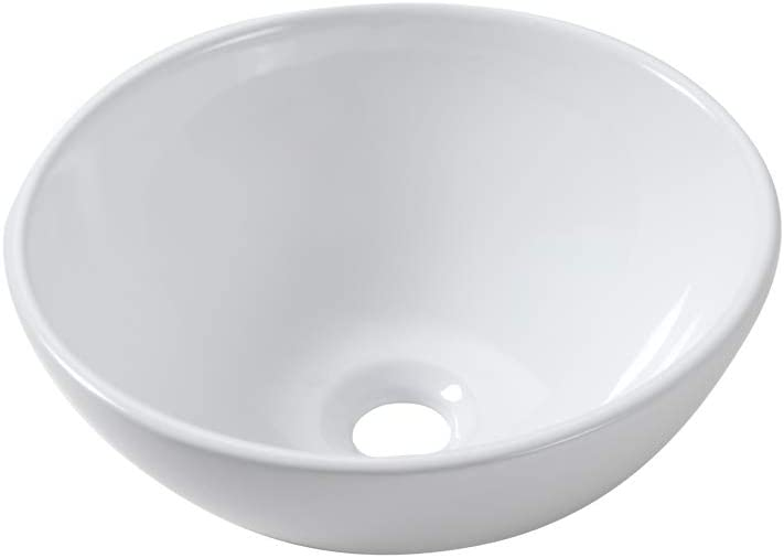 "Vessel Sink Round - Sarlai 16""x16"" Modern Round Bowl Above Counter White Porcelain Ceramic Bathroom Vessel Vanity Sink Art Basin"