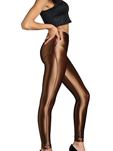 xQuare New American Style Apparel Shiny High Waisted Stretchy Disco Pants Leggings (Medium, Dark Brown) -