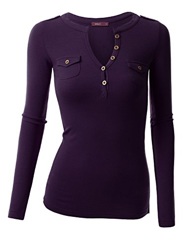 Doublju Stretch Cotton Fitted Deep V-Neck Henley T-Shirt Top (Plus size available) GRAPE 2XL