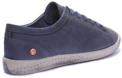 à femme Softinos Derbies lacets Bleu Isis washed Marine leather zwIzY