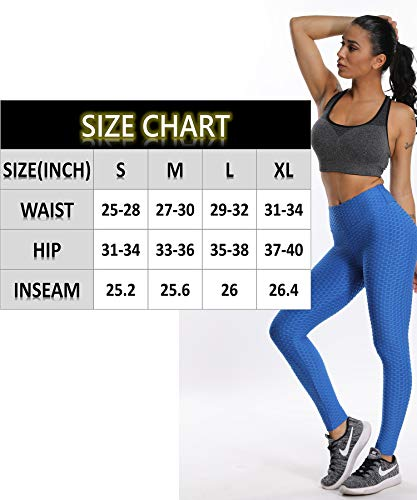 CFR Women's High Waist Yoga Pants Gym Workout Textured Leggings Tummy Control Slimming Booty Butt Lifting Tights #1 Square Blue S
