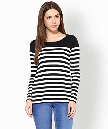 Fashion Fly Casual Full Sleeve Striped Girls Black Top