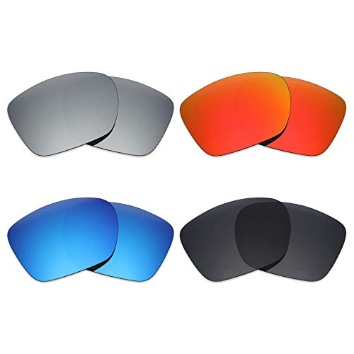 Mryok 4 Pair Polarized Replacement Lenses for Oakley TwoFace XL Sunglass - Stealth Black/Fire Red/Ice Blue/Silver ()