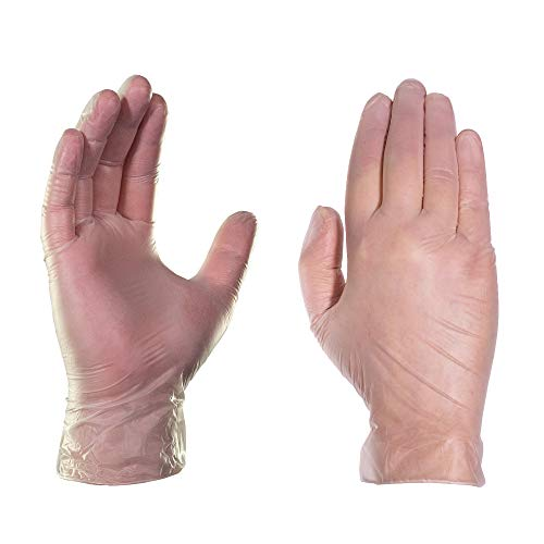 (AMMEX Vinyl Disposable Gloves - Clear, 4 Mil, Powder Free, Exam, Non-Sterile, Large, Box of 100)