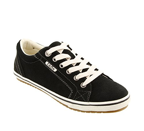 Taos Footwear Women's Retro Star Black Suede Sneaker 8 B (M) US