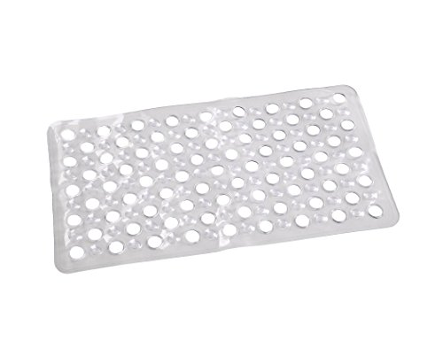 home queen Non-Slip Anti Slip PVC Bathroom Shower Mat,Mold Resistant Bathtub Mat,Slip Resistant Tub Mat,with Drain Hole and Suction Cups,16 W X 24 L,Clear by home queen