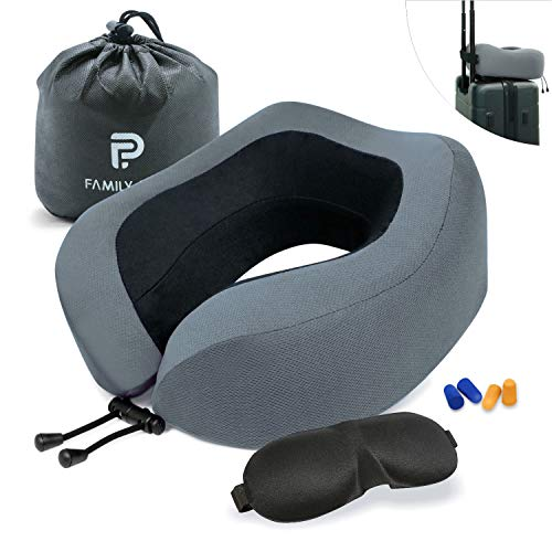 Family Pro Neck Pillow, Breathable & Comfortable Memory Foam Travel Pillow, 360-Degree Head Support U-Shaped Airplane Car Flight Pillow Portable, Accessories Eye Mask and 2 Pair Ear Plugs (Grey)