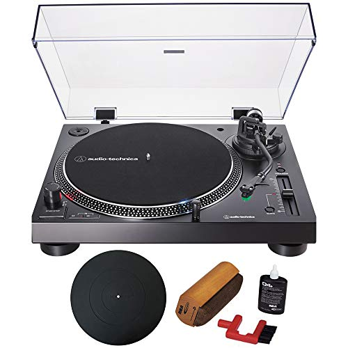 Audio-Technica Direct-Drive Turntable Analog & USB Black (AT-LP120XUSB-BK) with Essentials Bundle Includes Protective Turntable Platter and Vinyl Record Cleaning System