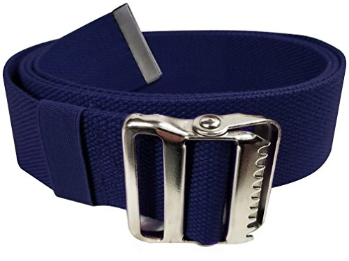 LiftAid Walking Gait Belt and Patient Transfer with Metal Buckle and Belt Loop Holder for Nurse, Caregiver, Physical Therapist (Navy Blue, 60'') by LiftAid
