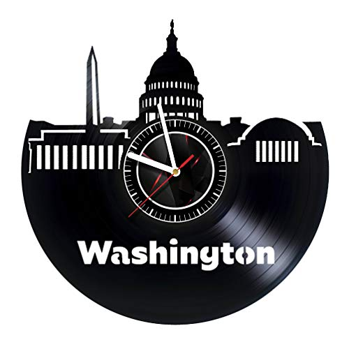 VONAVIroom Washington City - Vinyl Records Wall Art Room Decor Handmade Decoration Party Supplies Theme - Best Original Present Gift Idea, Vintage and Modern Style