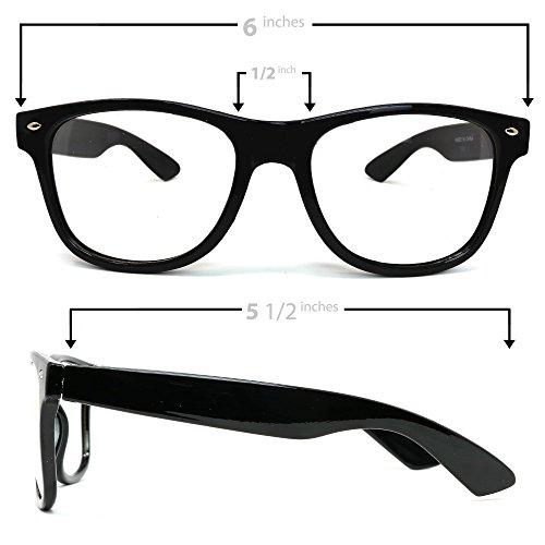 a4c746de76 Skeleteen Retro Nerd Costume Glasses - Oversized Black Hipster Eyeglasses  with Clear Lenses - 1 Pair