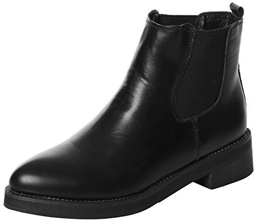 UJoowalk Womens Faux Pointy Toe Low-Heel Black Short Ankle Bootie Chelsea Boots (5 B(M) US, Black-Fur)
