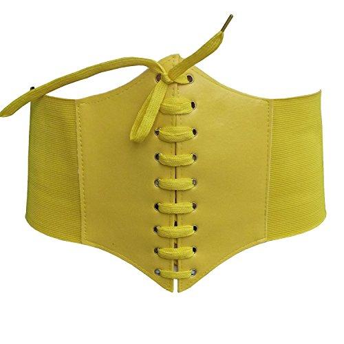 HOTER Black Lace-up Corset Belts Elastic Waist Cinch Belt For Women -BLACK (Yellow) ()