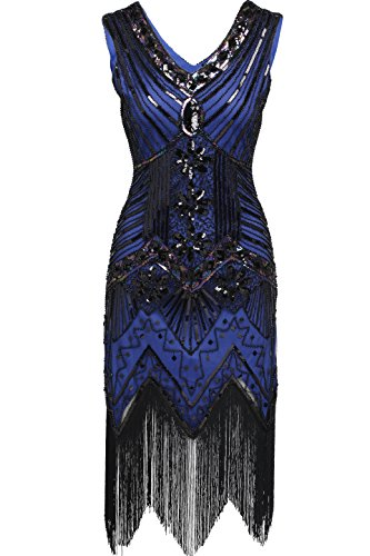 BABEYOND Women's Flapper Dresses 1920s V Neck Beaded Fringed Great Gatsby Dress (Large, Blue) (Great Gatsby Dresses)