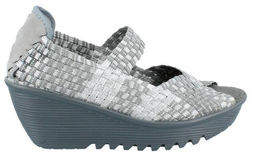 Bernie Mev Womens Halle Wedge Silver Gray Size 36