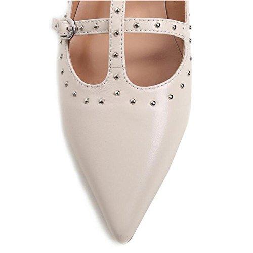 Beauqueen Bombas Flat tobillo correas Punta-Toe remache Decoración 2017 verano zapatos de moda Europa tamaño 35-39 Black