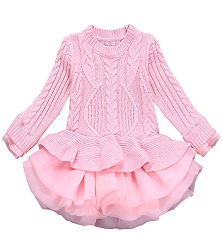 WEONEDREAM Baby Girl Dresses 3-4 Years Formal Fancy Pageant Dress for Kids Long Sleeve Ruffle Dresses for Little Big Girls Princess Tutu Dress Cute Beautiful Clothing Christmas (Pink 110) -