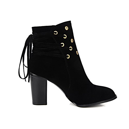 Lace Round AllhqFashion Solid Toe Up Imitated Closed High Boots Suede Black Womens Heels wzHxzRITq