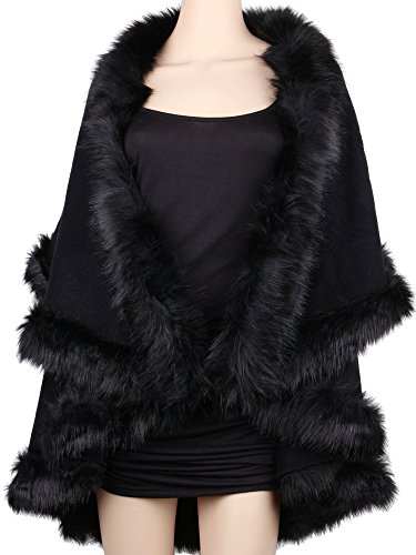 Womens Faux Fur Cape Coats Dress Plus Size (Black)