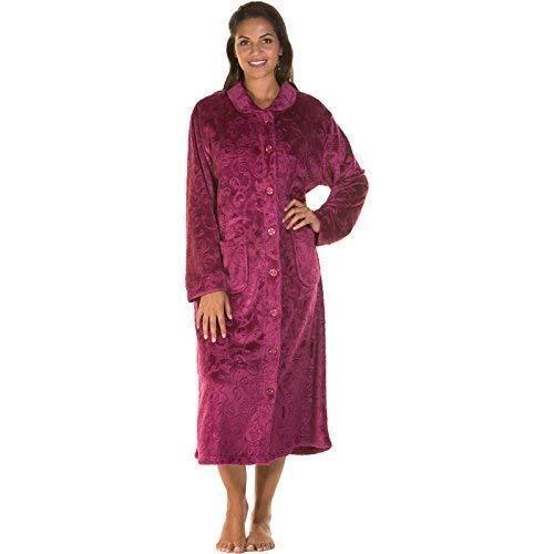 Robe Veste Taille Bouton Femmes Grande De Fermeture Éclair Peignoir Neuf Nuit Chambre Polaire Ciselé Rj5Lq34A