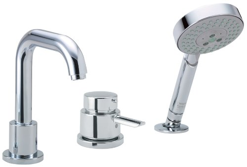 Hansgrohe 04128000 Focus S 3-Hole Thermostatic Tub Filler Trim, Chrome (Deck Mounted Diverter)
