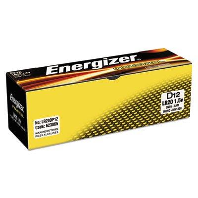 Industrial Alkaline Batteries, D, 12 Batteries/Box, Sold as 2 Box, 12 Each per Box by Energizer