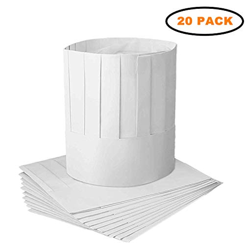 PPX 20 Pack Disposable 9 Inch Paper Chef Tall Hat Set Adjustable Kitchen Cooking Chef Cap for Food Restaurants, Home Kitchen, School, Classes, Catering Equipment or Birthday Party -