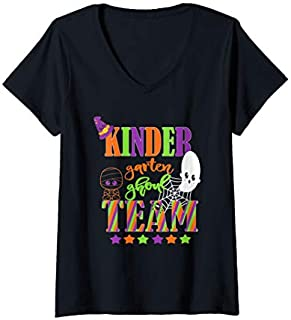 Womens Kindergarten Halloween Teacher Student Cute Ghoul Team V-Neck T-shirt | Size S - 5XL