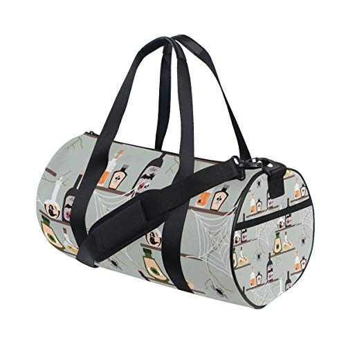 Sports Gym Travel Duffle Bag Halloween Poison Bottle Luggage for Men and Women