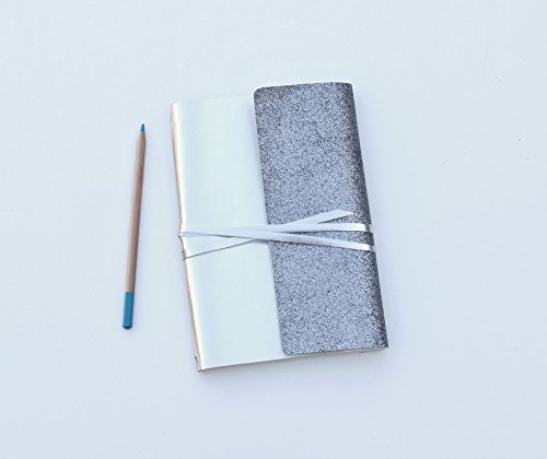 Hobonichi Cousin A5 Cover Metallic Silver with Gray Glitter Wrap Panel. Blank Monthly Calendar, 30 Months included. Holds A5 planners, notebooks, Bibles, books and A5 Journals.