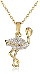 """18k Yellow Gold Plated Sterling Silver Diamond Accent Flamingo Pendant, 18"""""""