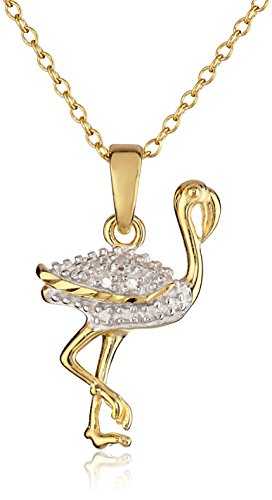 18k Yellow Gold Plated Sterling Silver Diamond Accent Fla...