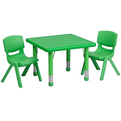 24'' Square Adjustable Plastic Activity Table Set with 2 School Stack Chairs