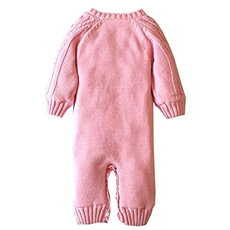 Goodkids Toddler Boys Girls Layette Cable Knit Sweater Romper Coral Fleece Lining Warm Jumpsuit Outfits Clothes