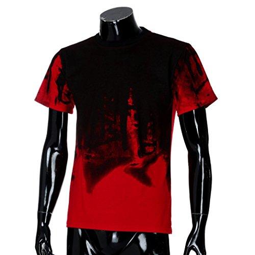 Manches Mode Courtes Hommes Casual Tops D'été Muscle À Rouge De Tee T Slim Deelin Blouse shirts Imprimer Fit z4qFWv