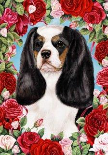 - Cavalier King Charles Spaniel Tri by Tamara Burnett Valentine Roses Garden Dog Breed Flag 28'' x 40''
