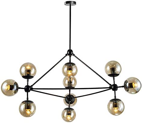 Senna House, SH-86527-Model 2,Chandeliers,10 Bulbs Magic Bean Pendant Light, Nordic Simple Globe Glass Shade with Black Metal Lampbody Hanging Lamp Lighting Fixtures